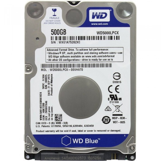 Disco Duro W. Digital 2.in OEM Blue 500GB 5400rpm 7mm 16MB Sata3